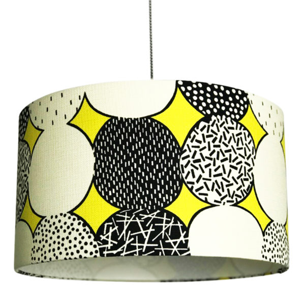Monochrome Memphis handmade Lampshade in Sunshine Yellow