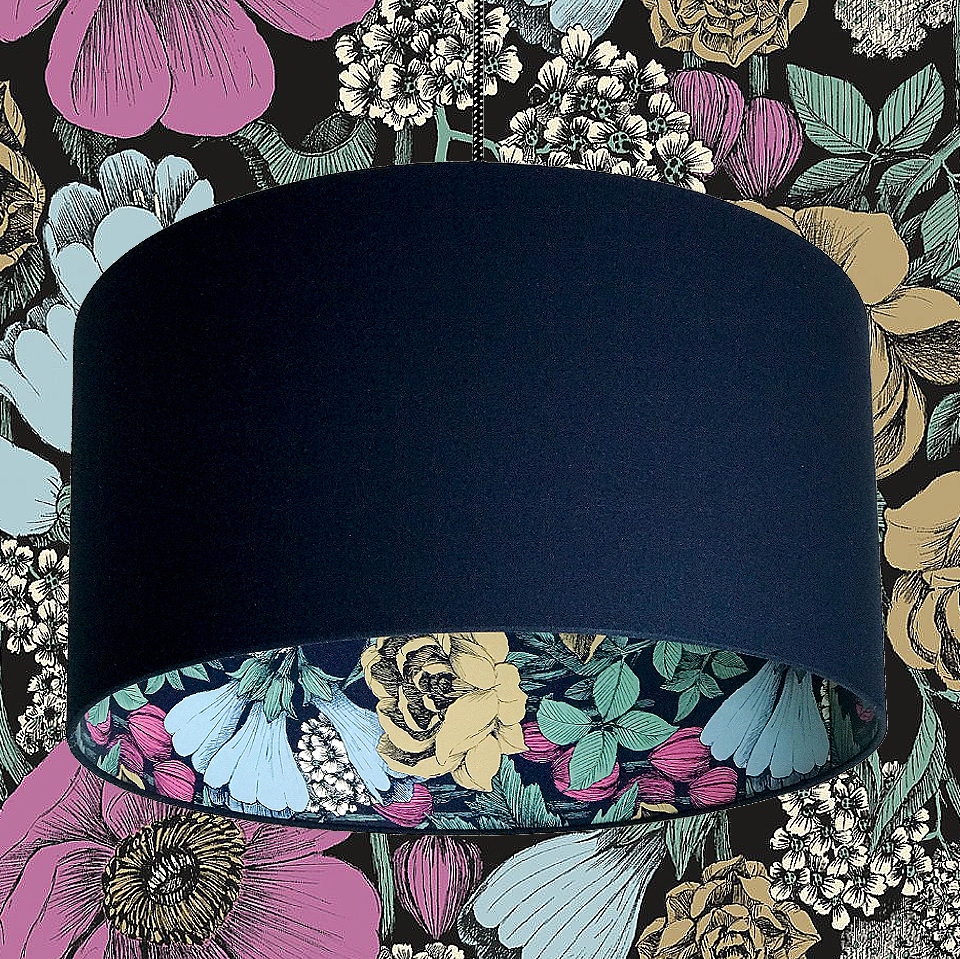 Oodi Deep space Navy Floral Silhouette Lampshade