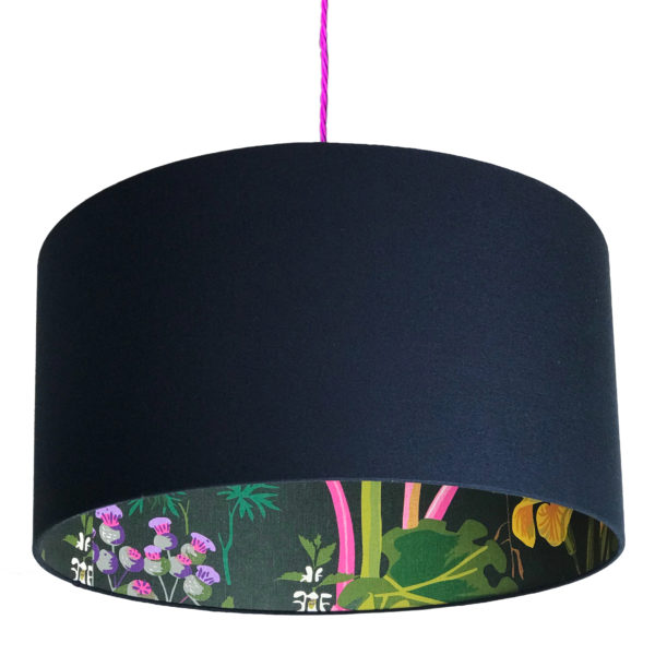 Rabarber Wallpaper Silhouette Lampshade in Deep Space Navy