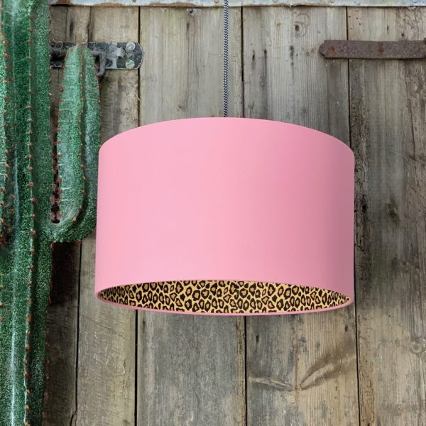 Dirty Pink Lampshade with Leopard Print Lining