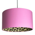 Wild Leopard Silhouette Lampshade in Candy Floss Pink