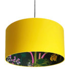 Rabarber Wallpaper Silhouette Lampshade in Egg Yolk Yellow
