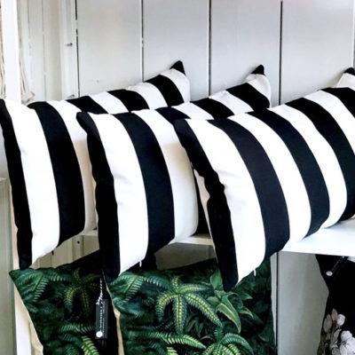 black and white striped cushion