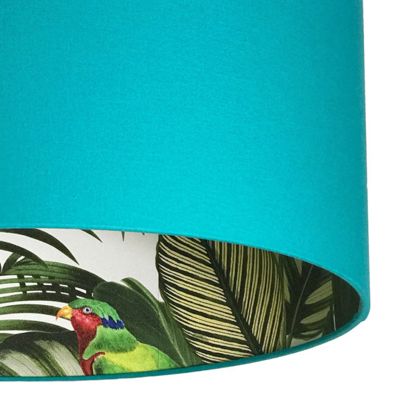 Tropical Jungle Silhouette Lampshade in Jade Cotton