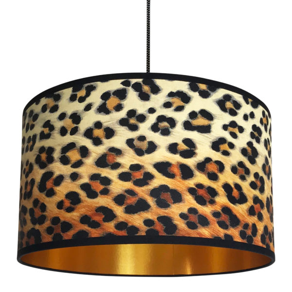 Wild Leopard Print Lampshade With Gold Lining