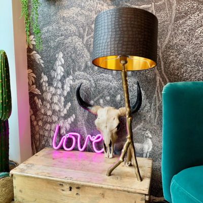Love Frankie Branch Table Lamp in Gold