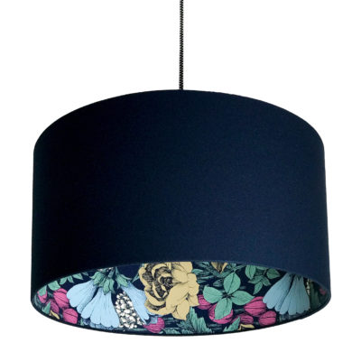 Oodi Floral Silhouette Lampshade in Deep Space Navy