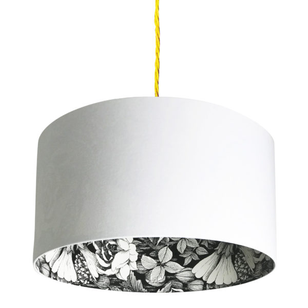 Oodi Floral Silhouette Lampshade in Crisp White