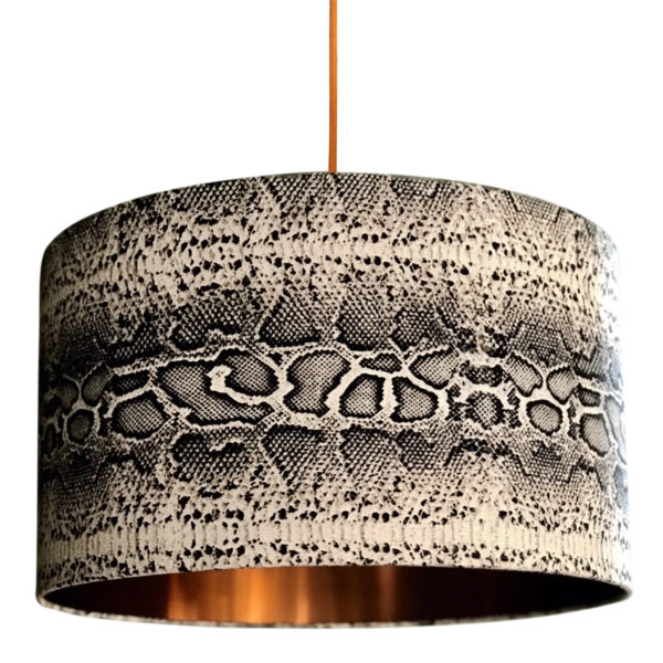 Serpent Snakeskin Linen Lampshade With Copper Lining