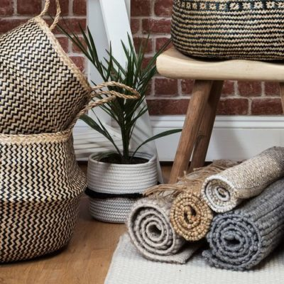 Natural and Black Seagrass Belly Basket