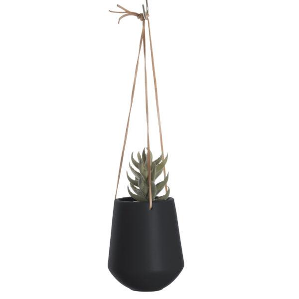 Medium Ceramic Hanging Planter in Matt Black