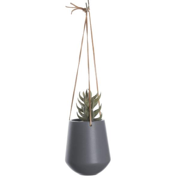 Medium Ceramic Hanging Planter In Matt Grey