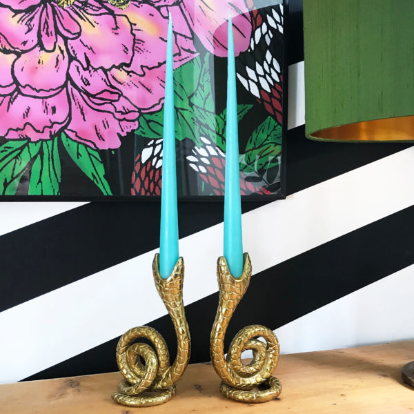 Curly Serpent Snake Candlestick in Gold