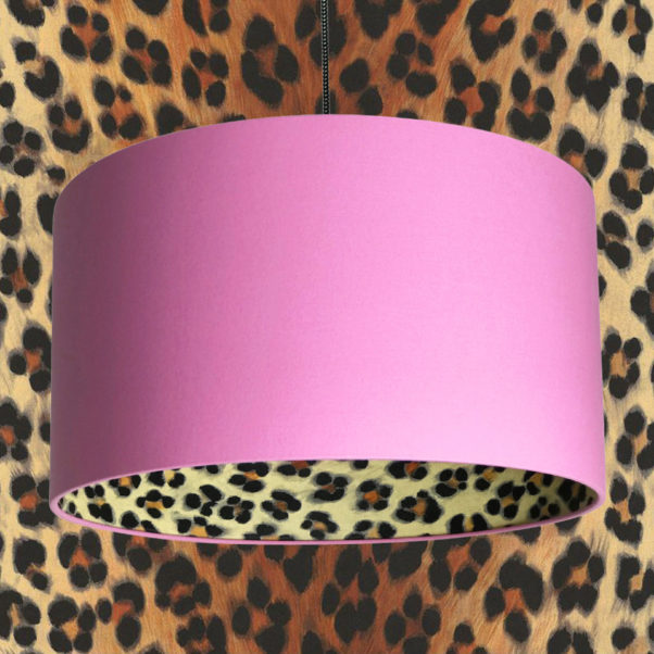 Wild Leopard print and Candy Floss Lampshade