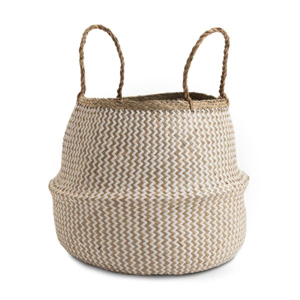 Large Natural and White Seagrass Belly Basket