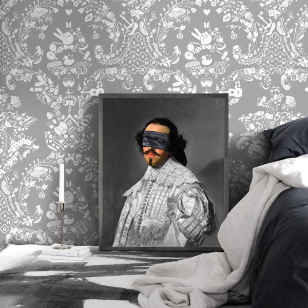 Young & Battalgia Blindfold Portrait - 5 Framed Canvas Artwork