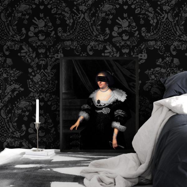 Young & Battaglia Blindfold Portrait - 7 Framed Canvas Artwork
