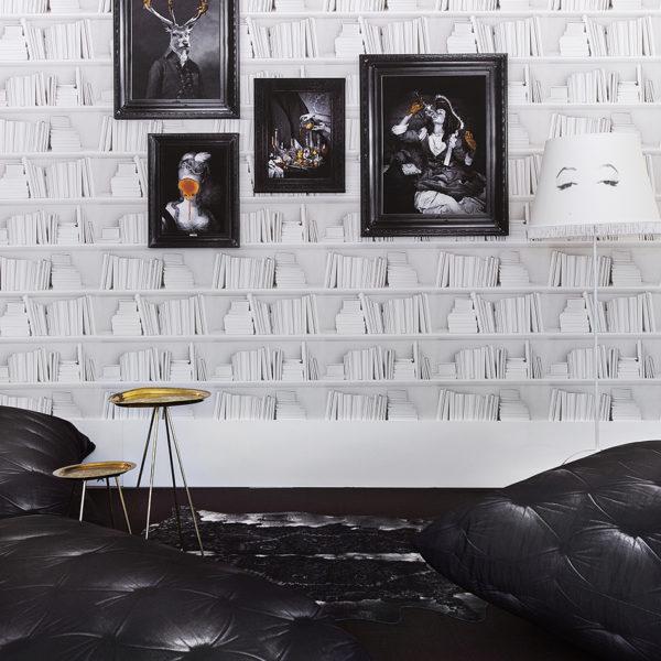 White Bookshelf Wallpaper - Young & Battaglia