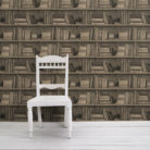 Sepia Bookshelf Wallpaper - Young & Battaglia