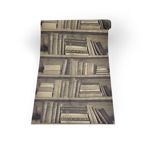 Sepia Bookshelf Wallpaper - Young & Battaglia