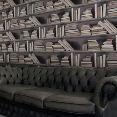 Vintage Bookshelf Wallpaper - Young & Battaglia