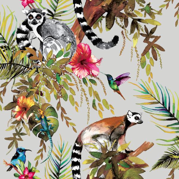 Kooky Jungle Lemur Wallpaper in Silver