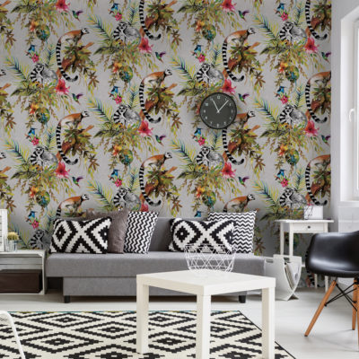 Kooky Jungle Lemur Wallpaper in Silver