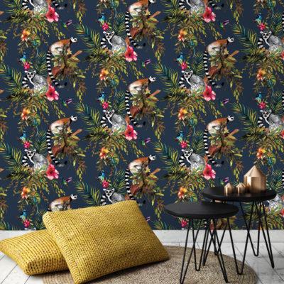 Kooky Jungle Lemur Wallpaper in Midnight Blue
