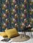 Kooky Jungle Lemur Wallpaper in Midnight Blue