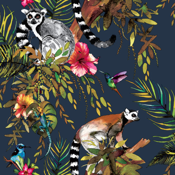 Jungle Kooky lemur wallpaper in midnight blue