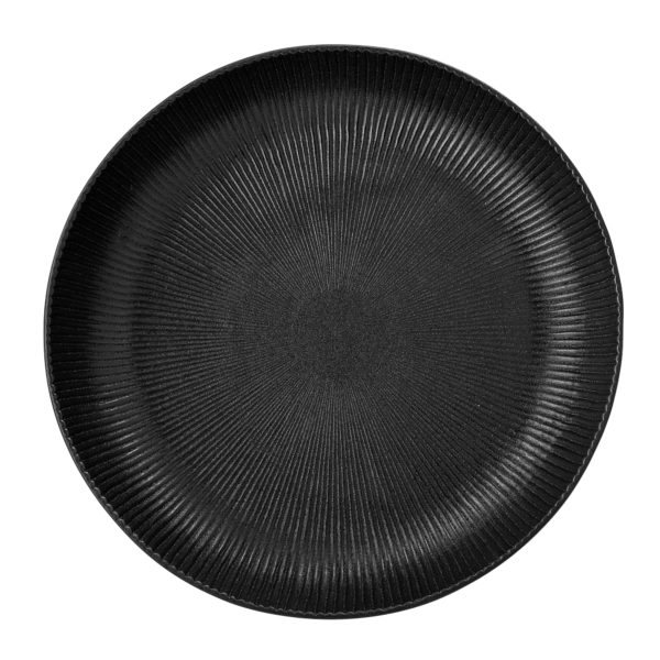 Artisan Charcoal Black Ribbed Dinner Plate