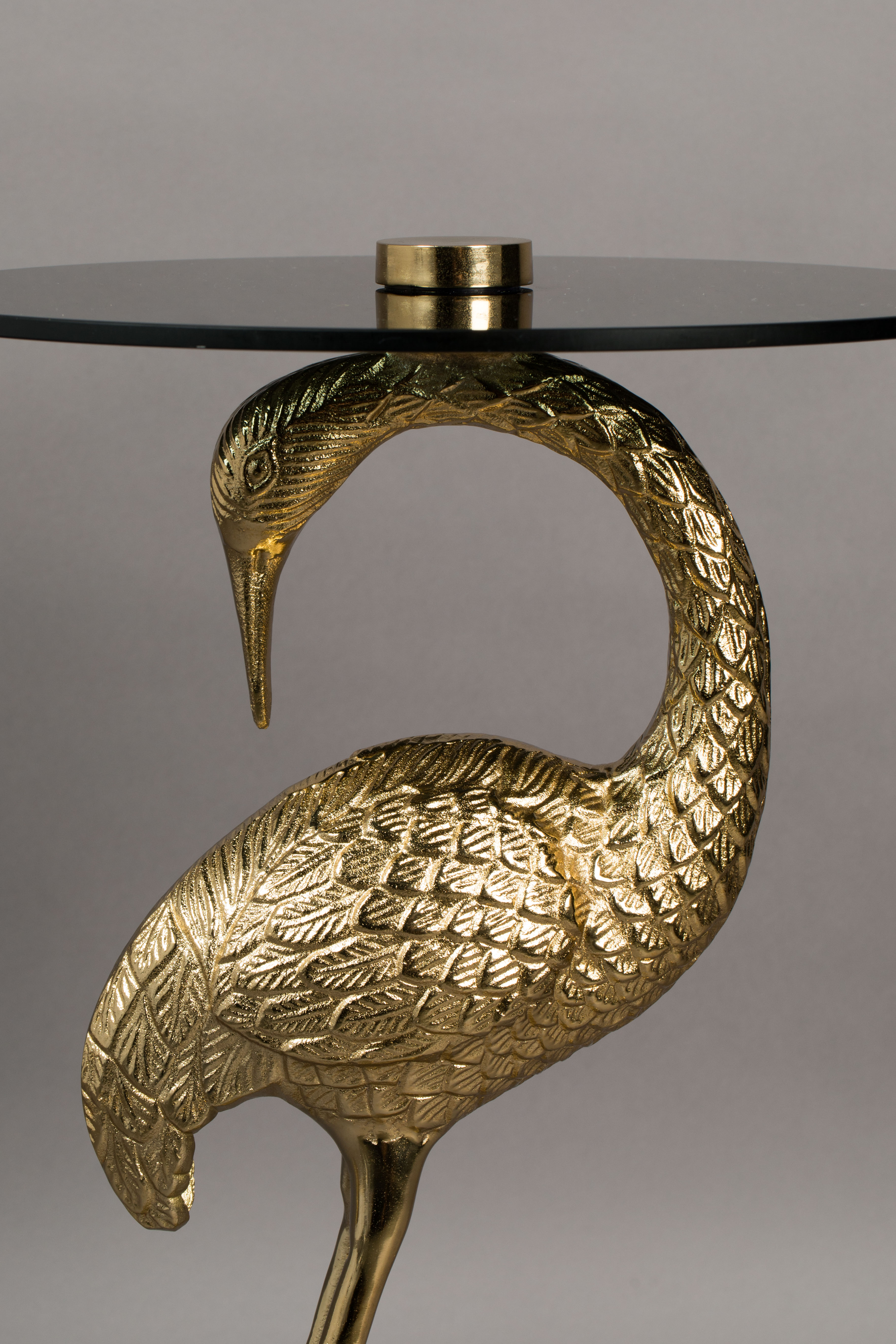 Crane Side Table In Gold With Glass Top Love Frankie