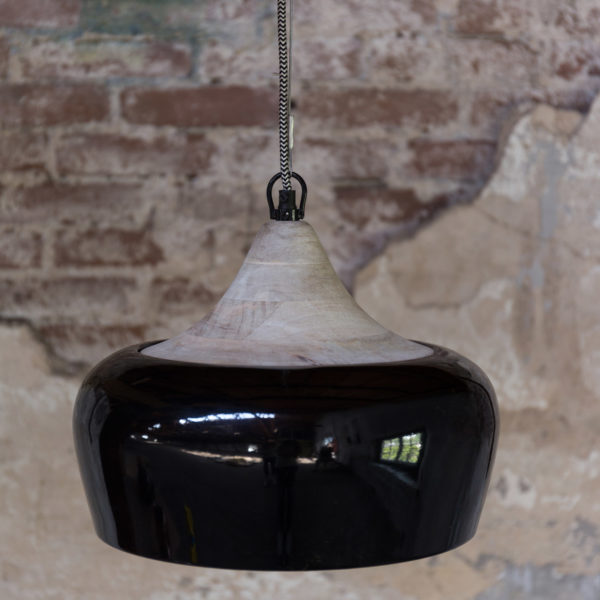 Black Gloss & Mango Wood Ceiling Pendant Light