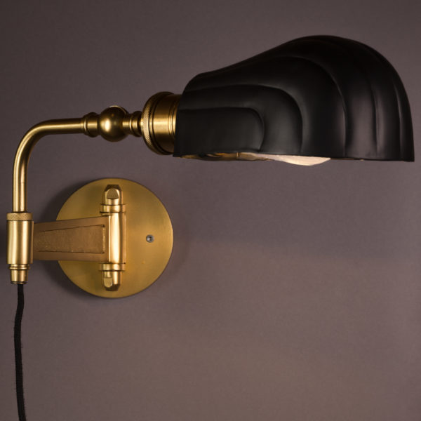 Art Deco Inspired Black and Brass Wall Lamp