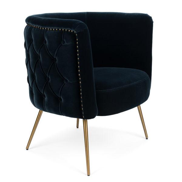 Button Back Velvet Tub Chair - midnight blue side angle
