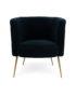 Button Back Velvet Tub Chair - midnight blue Front on