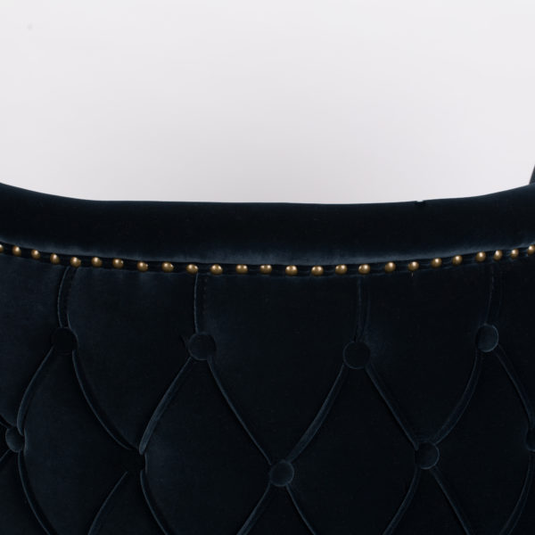 Button Back Velvet Tub Chair - midnight blue button detailing