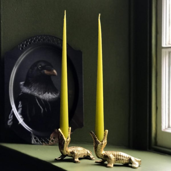 Elegant Tapered Candles in Lime Green