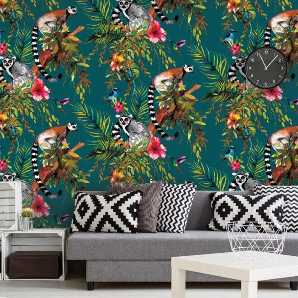Kooky Jungle Lemur Wallpaper in Teal