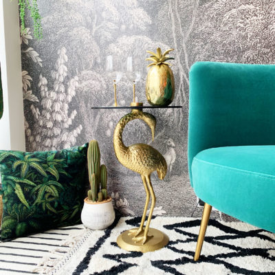 Crane Side Table in Gold with Glass Top