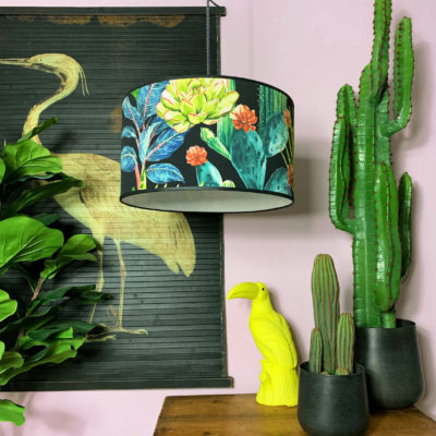 Handmade Tropical Drum Lamp Shade Spike Island Cactus Lampshade