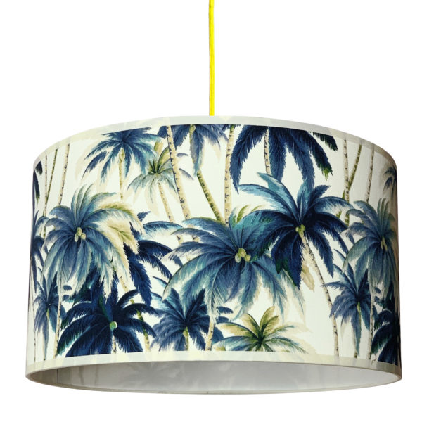 swaying palms tropical lampshade in blue