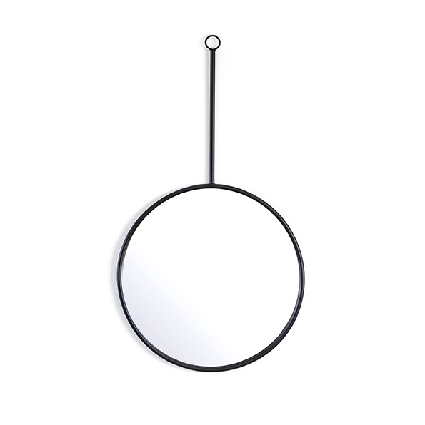 Circular Hanging Mirror with Black Frame - Small