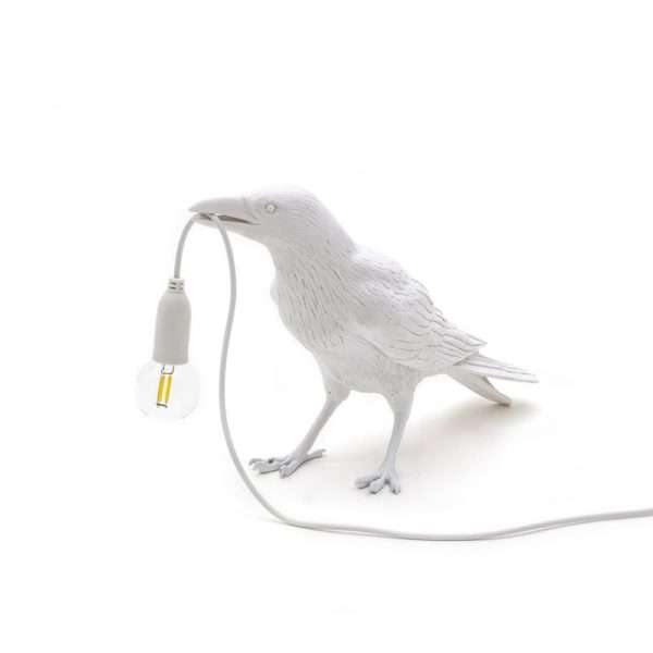 "Unusual Bird lamp "" Waiting"" in White by Seletti"