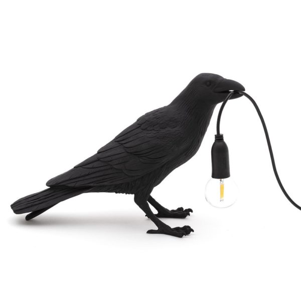 "Unusual Bird lamp "" Waiting"" in Black by Seletti"