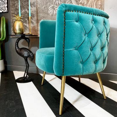 Luxe button back velvet tub chair in ocean blue