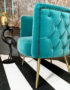 Luxe button back velvet tub chair in ocean blue