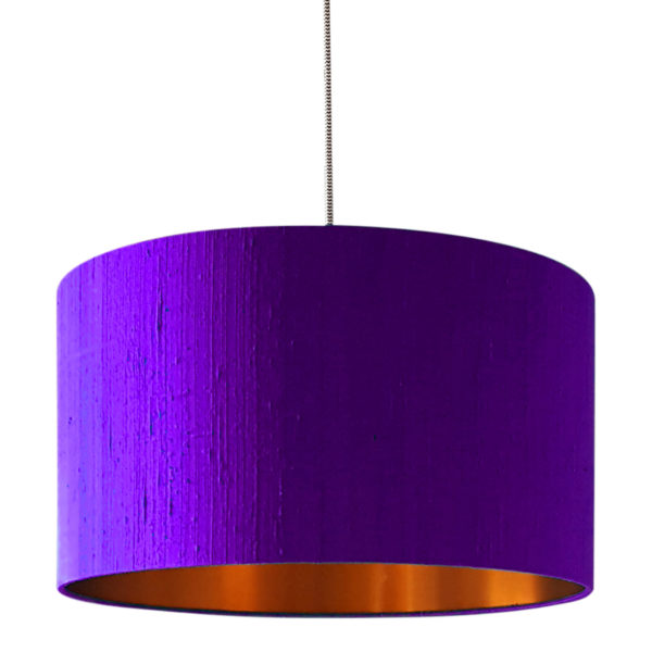 Ultra Violet Indian Silk Lampshade With Gold Lining