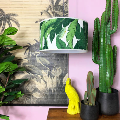 Handmade Tropical Drum Lamp Shade in Banana Leaf