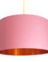 Dirty Pink Cotton Lampshade With Copper Foil Lining